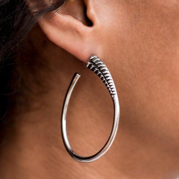 Fully Loaded Silver Hoop Earrings